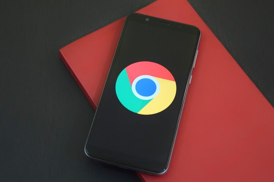 Chrome logo on an iPhone screen