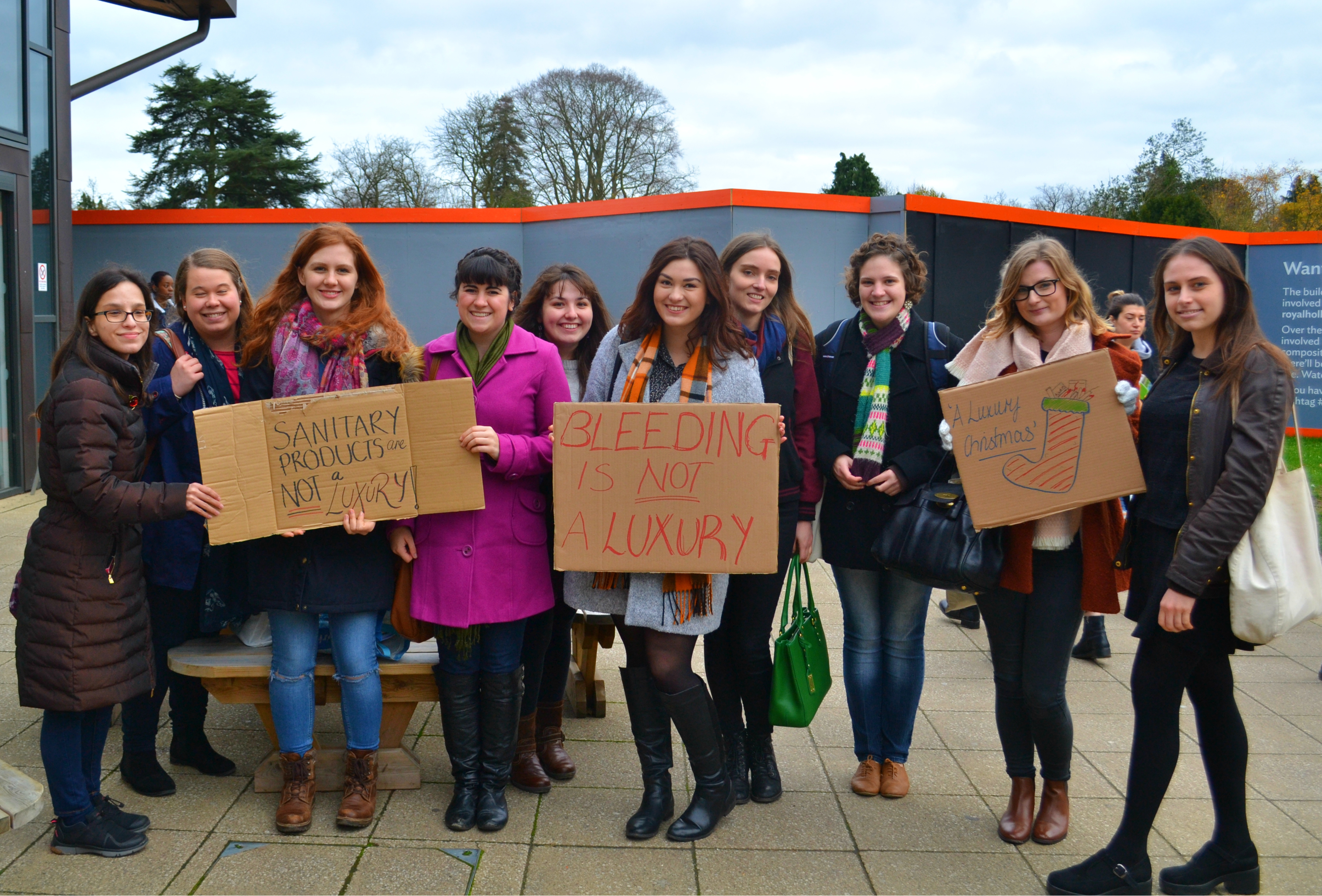 Students at Royal Holloway protesting against the tampon tax.